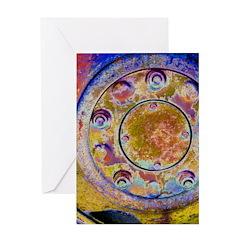 Rust Wheel Greeting Cards