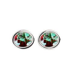 Red Green Machine Oval Cufflinks