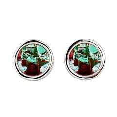 Red Green Machine Round Cufflinks