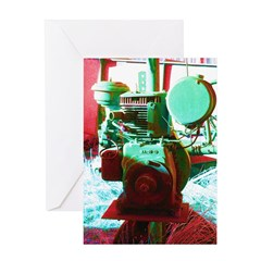 Red Green Machine Greeting Cards