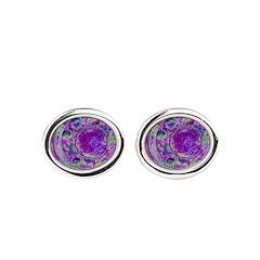 Purple Green Wheel Oval Cufflinks