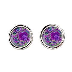 Purple Green Wheel Round Cufflinks