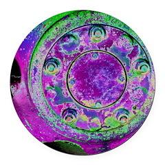 Purple Green Wheel Round Car Magnet