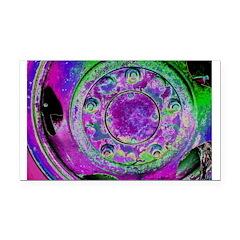 Purple Green Wheel Rectangle Car Magnet