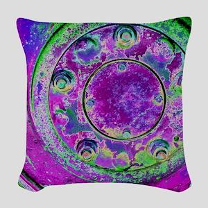Purple Green Wheel Woven Throw Pillow