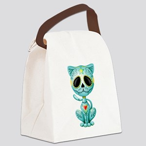 Blue Zombie Sugar Skull Kitten Canvas Lunch Bag