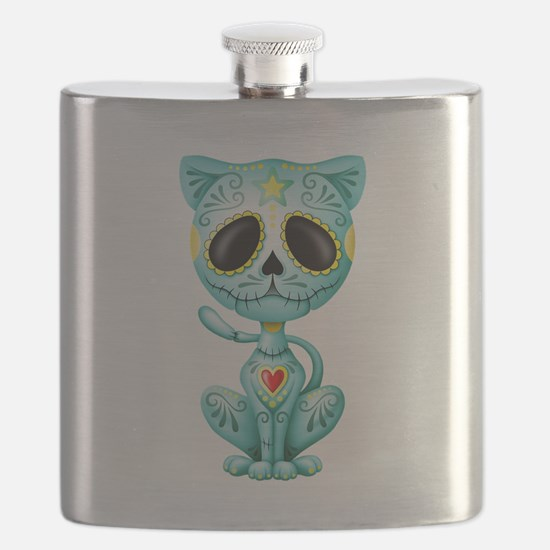 Blue Zombie Sugar Skull Kitten Flask