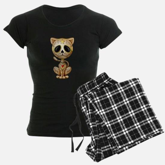Brown Zombie Sugar Skull Kitten pajamas