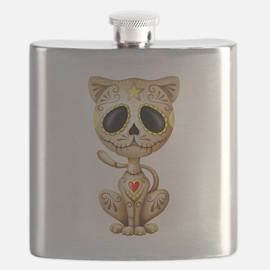 Brown Zombie Sugar Skull Kitten Flask