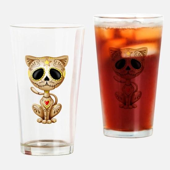 Brown Zombie Sugar Skull Kitten Drinking Glass