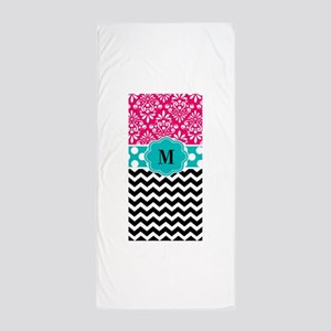 Pink Teal Chevron Monogram Beach Towel