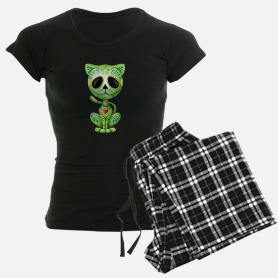 Green Zombie Sugar Skull Kitten pajamas