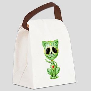 Green Zombie Sugar Skull Kitten Canvas Lunch Bag