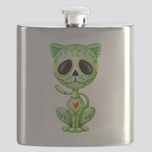Green Zombie Sugar Skull Kitten Flask