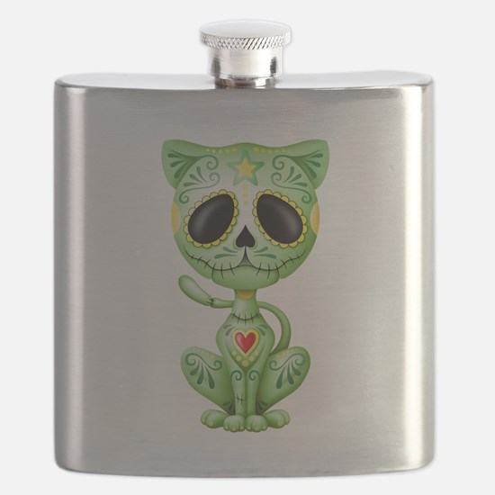 Green Zombie Sugar Skull Kitten Flask