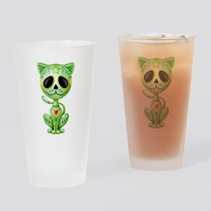 Green Zombie Sugar Skull Kitten Drinking Glass