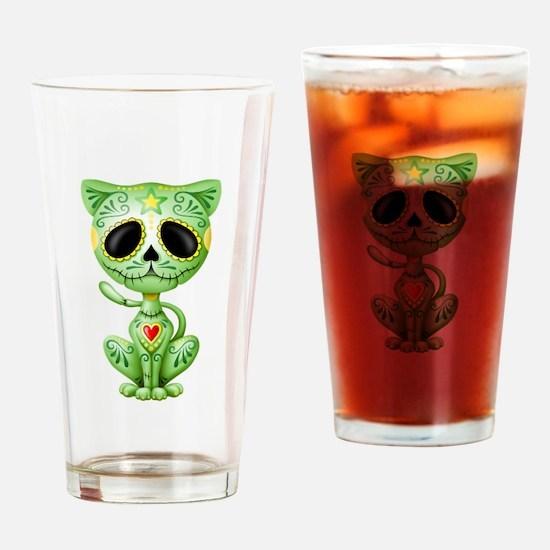 Green Zombie Sugar Skull Kitten Drinking Glass