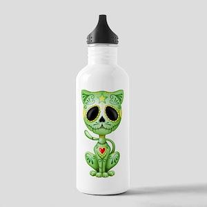 Green Zombie Sugar Skull Kitten Water Bottle