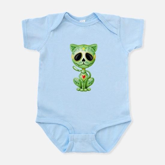 Green Zombie Sugar Skull Kitten Body Suit
