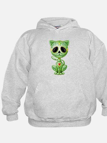 Green Zombie Sugar Skull Kitten Hoodie