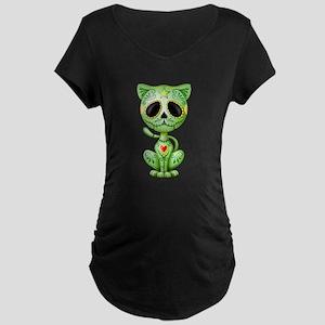 Green Zombie Sugar Skull Kitten Maternity T-Shirt