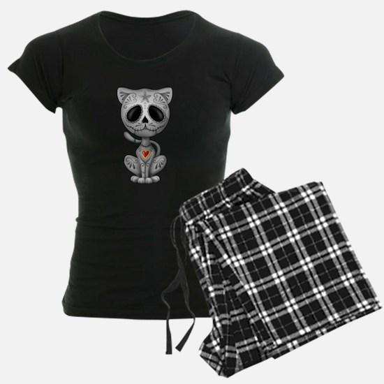 Gray Zombie Sugar Skull Kitten pajamas