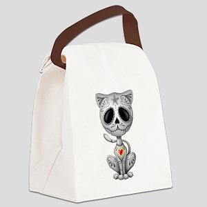 Gray Zombie Sugar Skull Kitten Canvas Lunch Bag