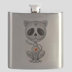Gray Zombie Sugar Skull Kitten Flask