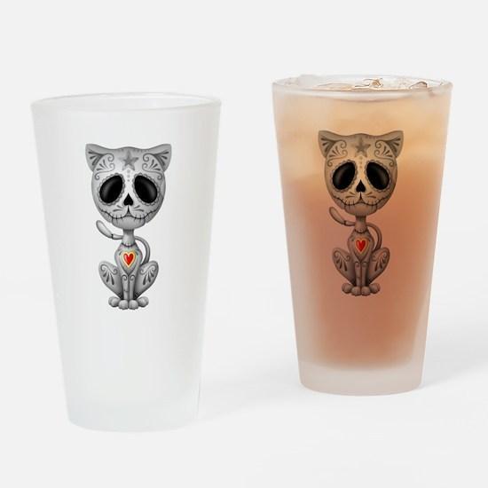 Gray Zombie Sugar Skull Kitten Drinking Glass