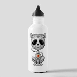 Gray Zombie Sugar Skull Kitten Water Bottle