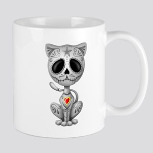 Gray Zombie Sugar Skull Kitten Mugs