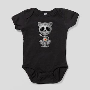 Gray Zombie Sugar Skull Kitten Baby Bodysuit