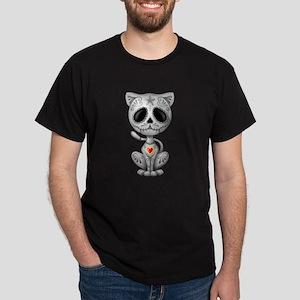 Gray Zombie Sugar Skull Kitten T-Shirt