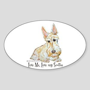 Wheaten Scottish Terrier Oval Sticker