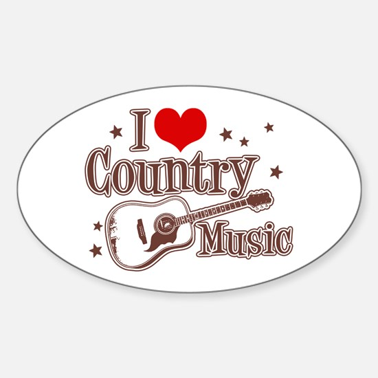 I Love Country Music Oval Decal