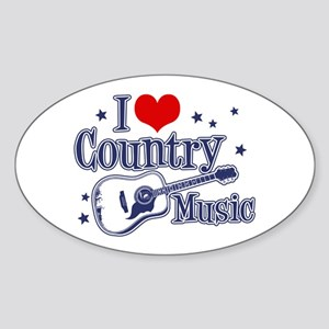 I Love Country Music Oval Sticker