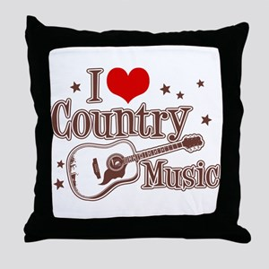 I Love Country Music Throw Pillow