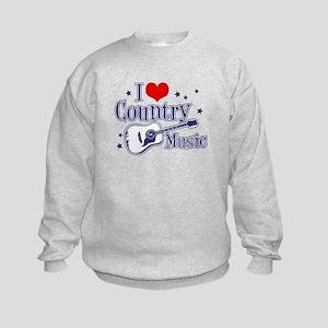 I Love Country Music Kids Sweatshirt