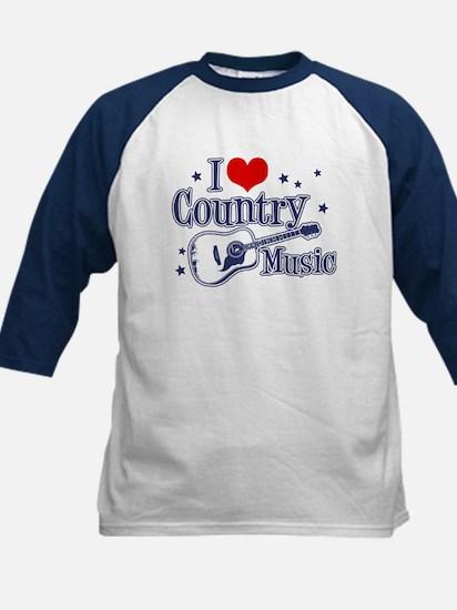 I Love Country Music Kids Baseball Jersey