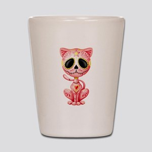 Pink Zombie Sugar Skull Kitten Shot Glass