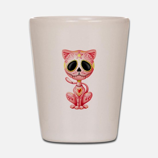 Pink Zombie Sugar Skull Kitten Shot Glass