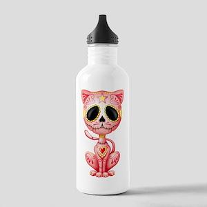 Pink Zombie Sugar Skull Kitten Water Bottle