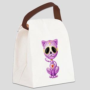 Purple Zombie Sugar Skull Kitten Canvas Lunch Bag