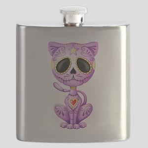 Purple Zombie Sugar Skull Kitten Flask