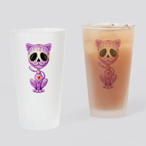 Purple Zombie Sugar Skull Kitten Drinking Glass