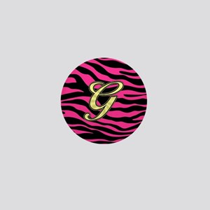 HOT PINK ZEBRA GOLD G Mini Button