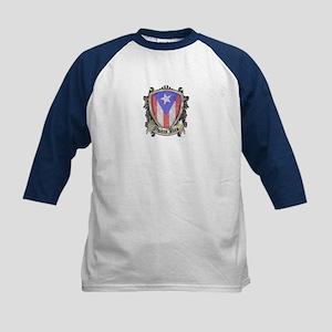 Puerto Rico Flag - Shield Cre Kids Baseball Jersey