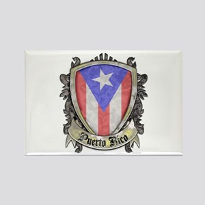 Puerto Rico Flag - Shield Crest Rectangle Magnet