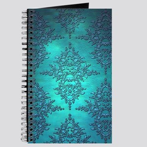 Teal Turquoise Fancy Floral Damask Pattern Journal