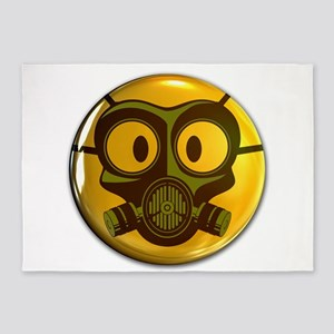 Gas Mask Smiley Face Button 5'x7'Area Rug